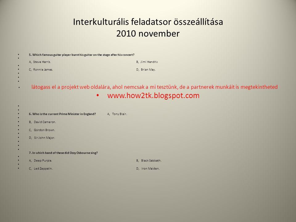 Interkulturális feladatsor összeállítása 2010 november