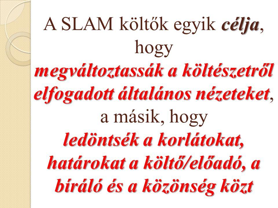 A SLAM költők egyik célja, hogy megváltoztassák a költészetről elfogadott általános nézeteket, a másik, hogy ledöntsék a korlátokat, határokat a költő/előadó, a bíráló és a közönség közt