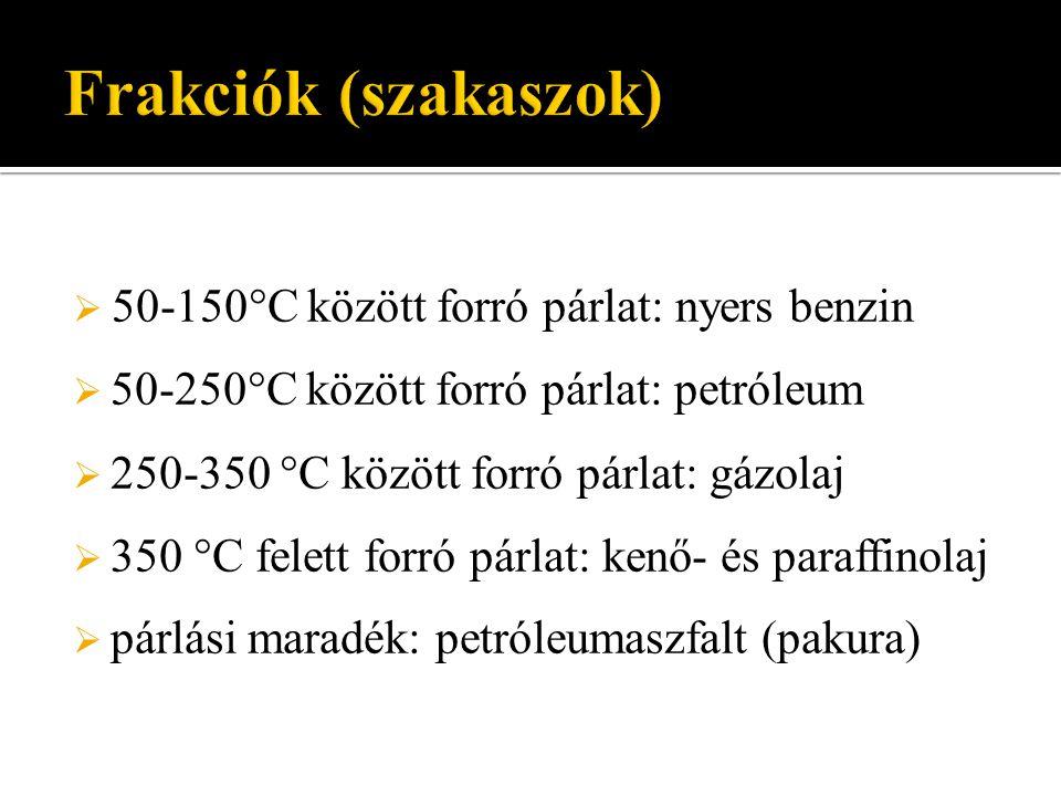 Frakciók (szakaszok) 50-150°C között forró párlat: nyers benzin
