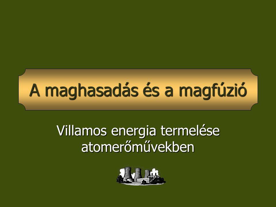 Villamos energia termelése atomerőművekben