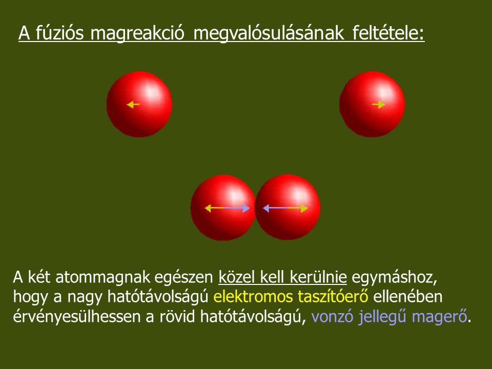 A fúziós magreakció megvalósulásának feltétele:
