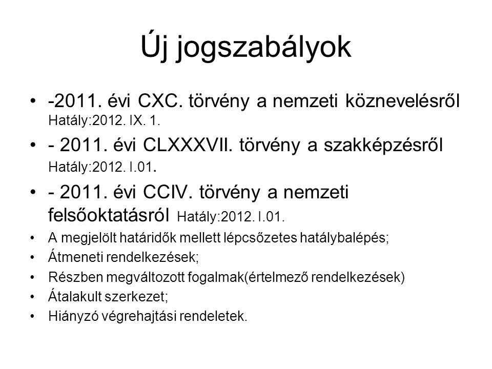 Új jogszabályok -2011. évi CXC. törvény a nemzeti köznevelésről Hatály:2012. IX. 1. - 2011. évi CLXXXVII. törvény a szakképzésről Hatály:2012. I.01.
