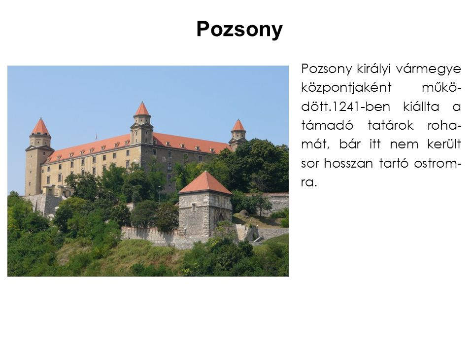 Pozsony Pozsony királyi vármegye központjaként műkö-dött.1241-ben kiállta a támadó tatárok roha-mát, bár itt nem került sor hosszan tartó ostrom-ra.