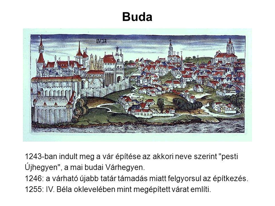 Buda 1243-ban indult meg a vár építése az akkori neve szerint pesti Újhegyen , a mai budai Várhegyen.