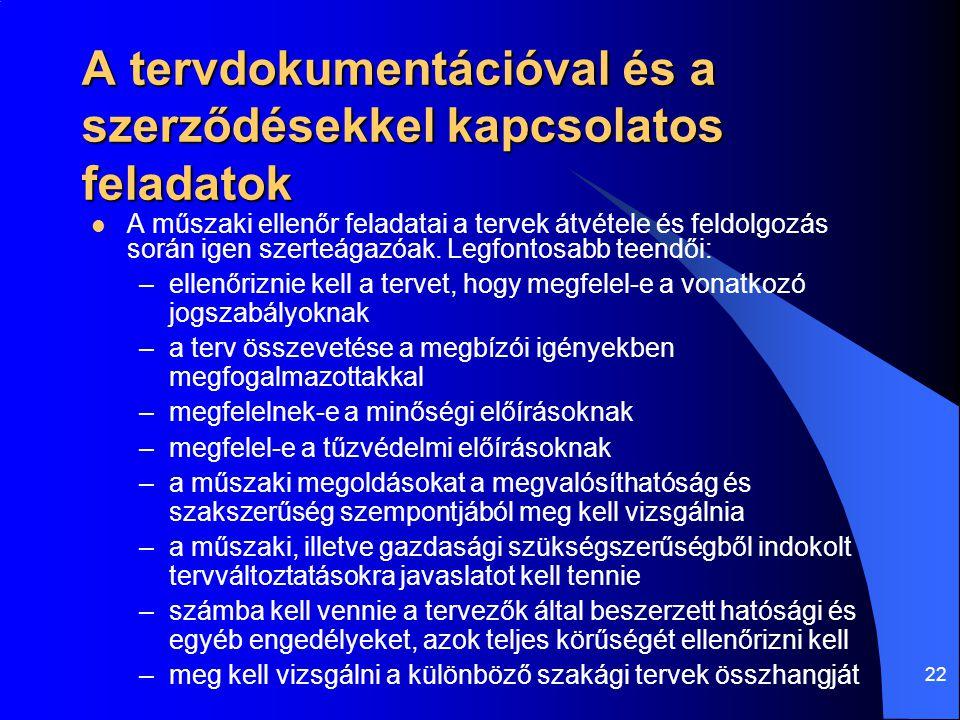 A tervdokumentációval és a szerződésekkel kapcsolatos feladatok
