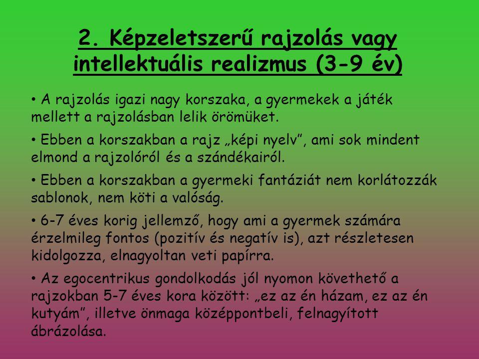 2. Képzeletszerű rajzolás vagy intellektuális realizmus (3-9 év)