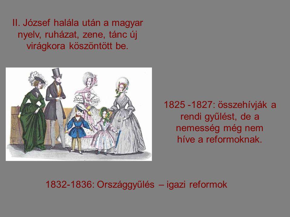 II. József halála után a magyar nyelv, ruházat, zene, tánc új virágkora köszöntött be.