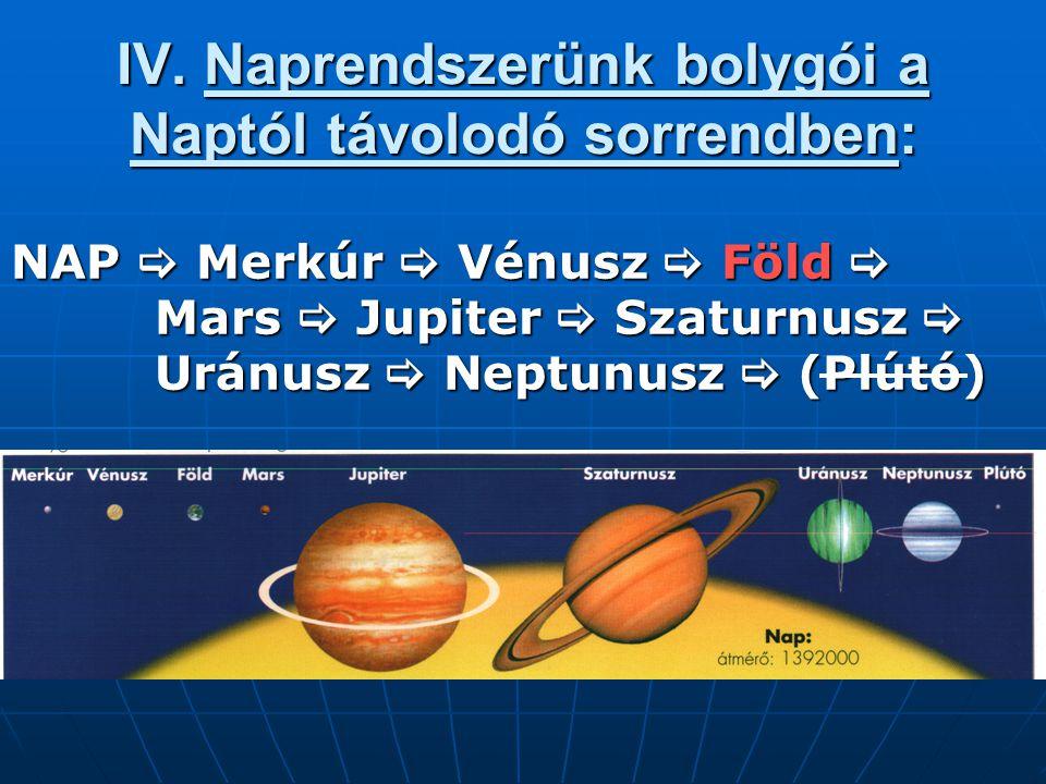 IV. Naprendszerünk bolygói a Naptól távolodó sorrendben: