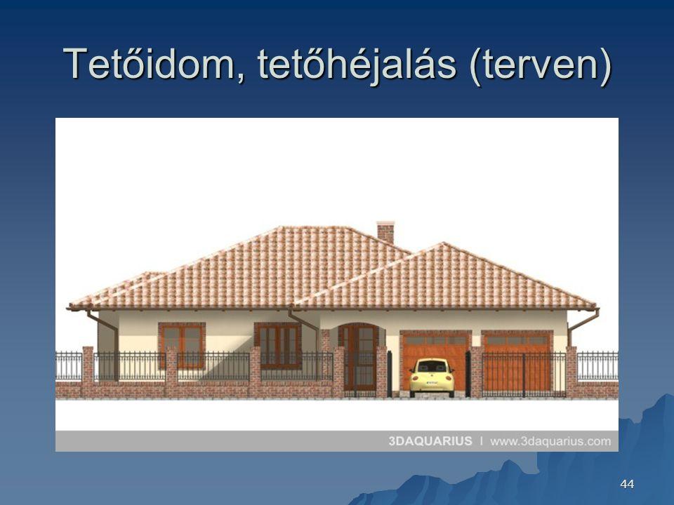 Tetőidom, tetőhéjalás (terven)