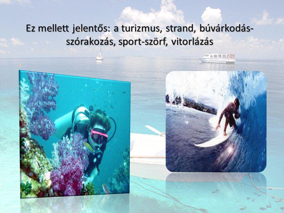 Ez mellett jelentős: a turizmus, strand, búvárkodás-szórakozás, sport-szörf, vitorlázás