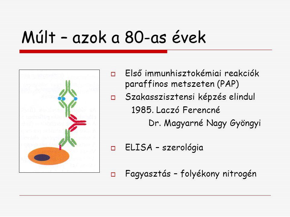Múlt – azok a 80-as évek Első immunhisztokémiai reakciók paraffinos metszeten (PAP) Szakasszisztensi képzés elindul.