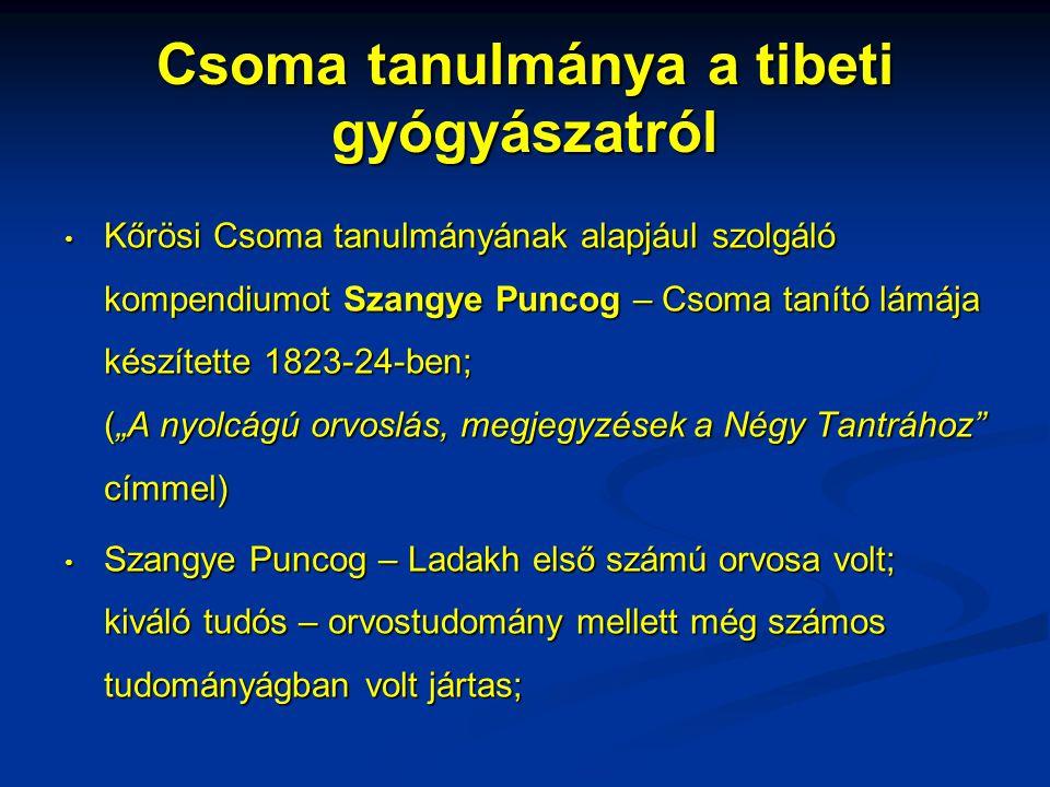 Csoma tanulmánya a tibeti gyógyászatról