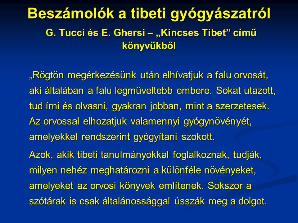 Beszámolók a tibeti gyógyászatról G. Tucci és E