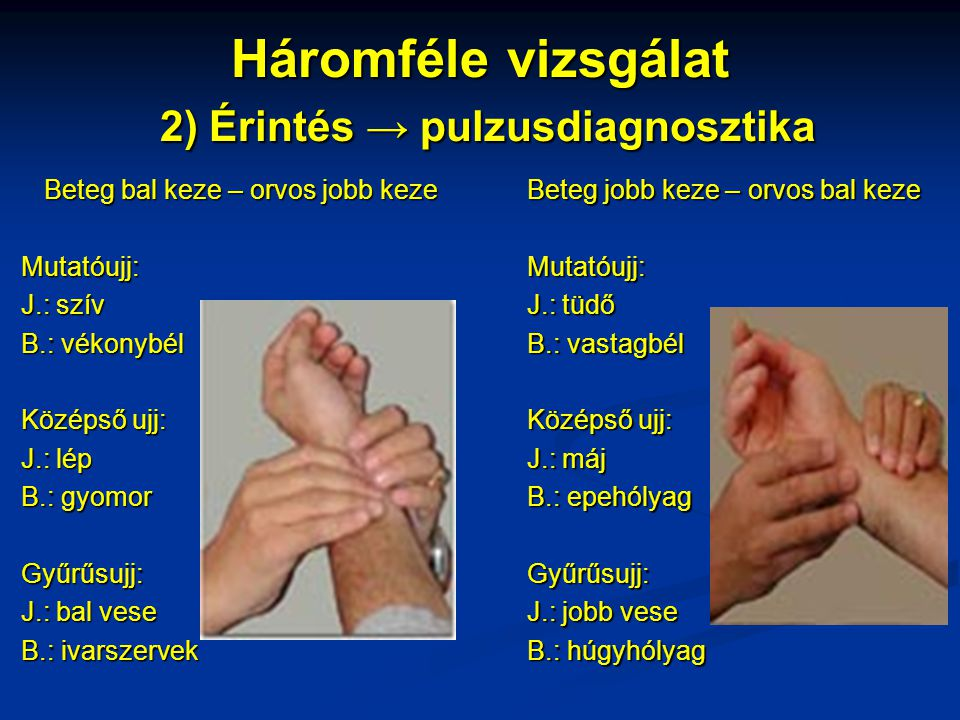 Háromféle vizsgálat 2) Érintés → pulzusdiagnosztika