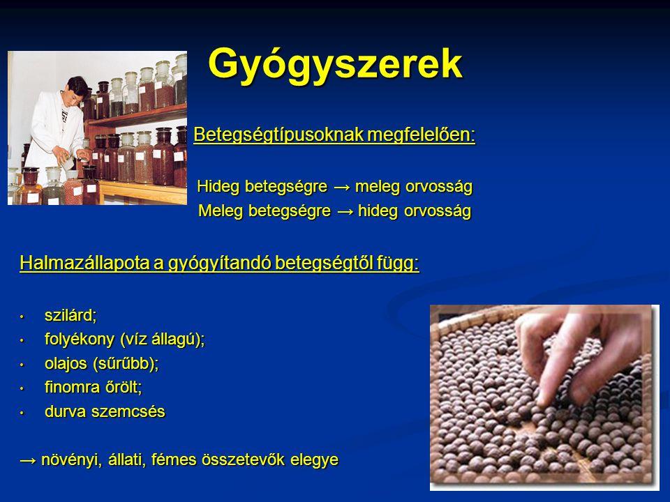 Gyógyszerek Betegségtípusoknak megfelelően: