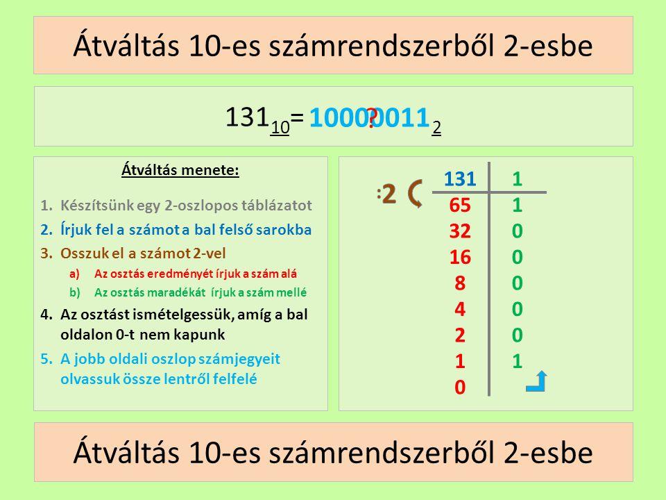 Átváltás 10-es számrendszerből 2-esbe