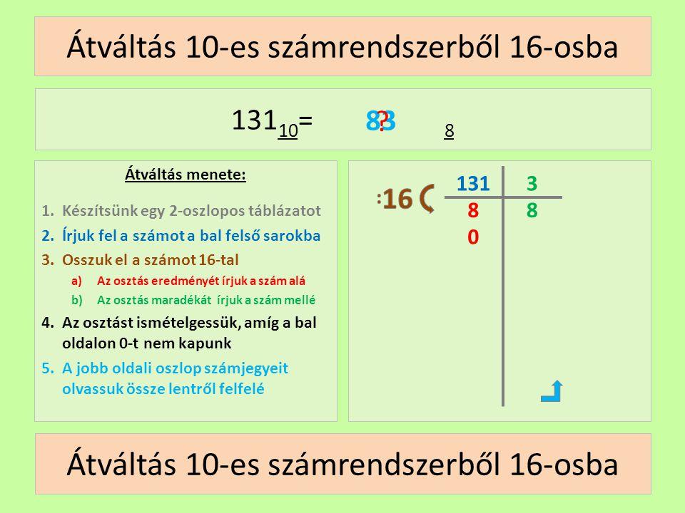 Átváltás 10-es számrendszerből 16-osba