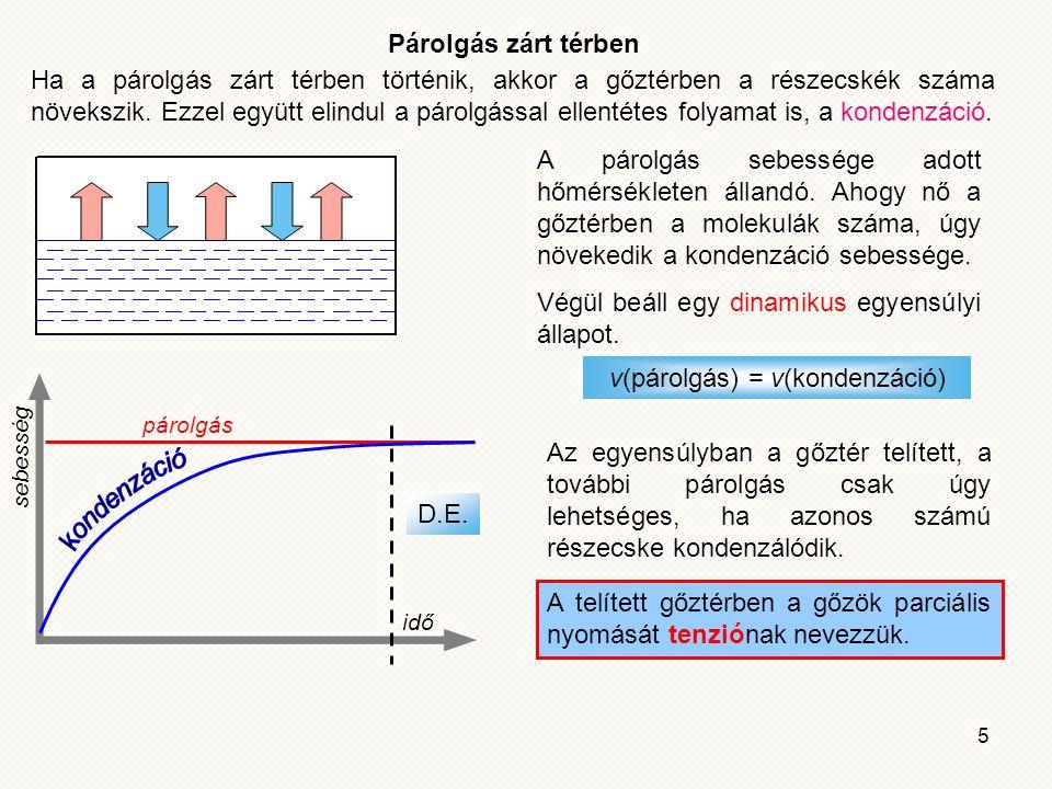 v(párolgás) = v(kondenzáció)