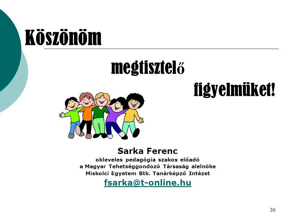 Köszönöm megtisztelő figyelmüket! Sarka Ferenc fsarka@t-online.hu