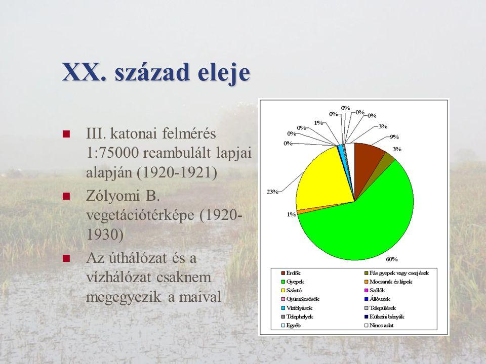 XX. század eleje III. katonai felmérés 1:75000 reambulált lapjai alapján (1920-1921) Zólyomi B. vegetációtérképe (1920-1930)