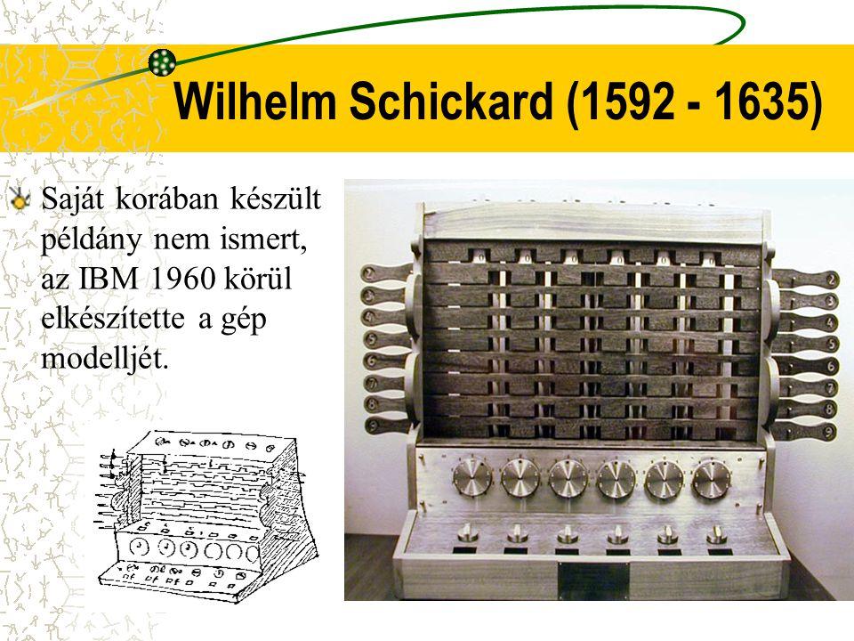 Wilhelm Schickard (1592 - 1635) Saját korában készült példány nem ismert, az IBM 1960 körül elkészítette a gép modelljét.