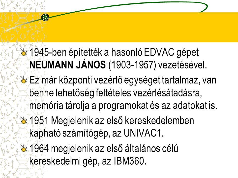 1945-ben építették a hasonló EDVAC gépet NEUMANN JÁNOS (1903-1957) vezetésével.