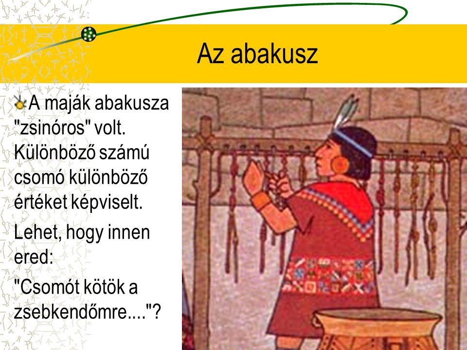 Az abakusz A maják abakusza zsinóros volt. Különböző számú csomó különböző értéket képviselt. Lehet, hogy innen ered: