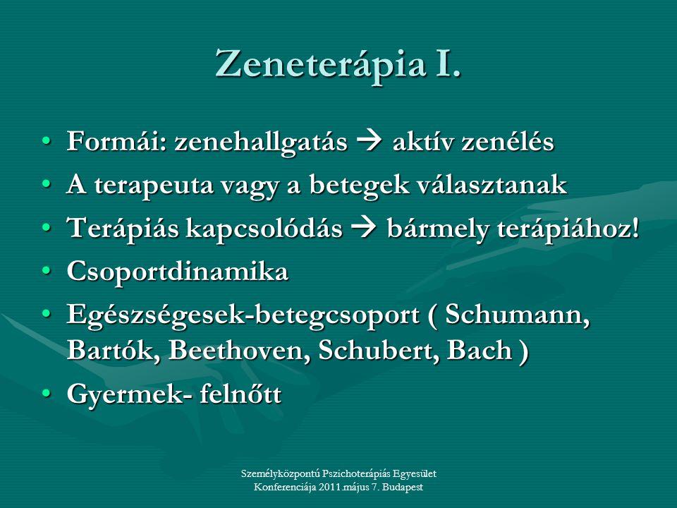 Zeneterápia I. Formái: zenehallgatás  aktív zenélés