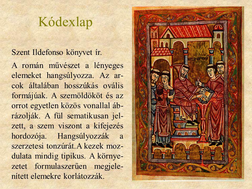 Kódexlap Szent Ildefonso könyvet ír.