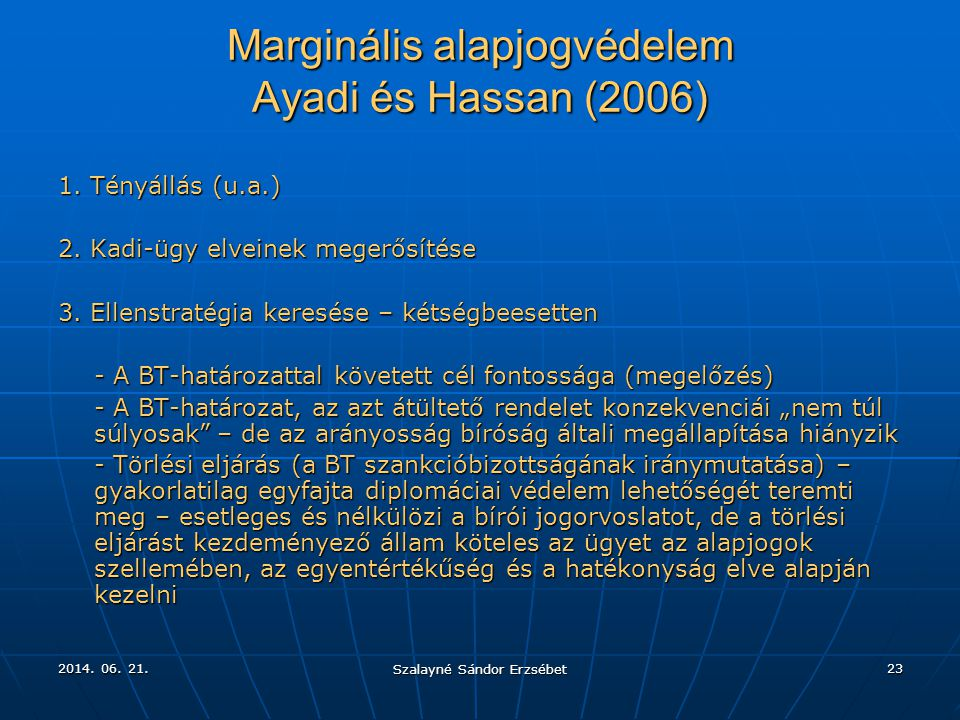 Marginális alapjogvédelem Ayadi és Hassan (2006)
