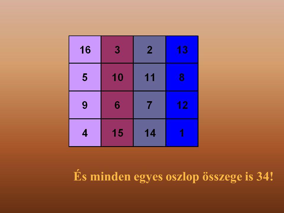 És minden egyes oszlop összege is 34!