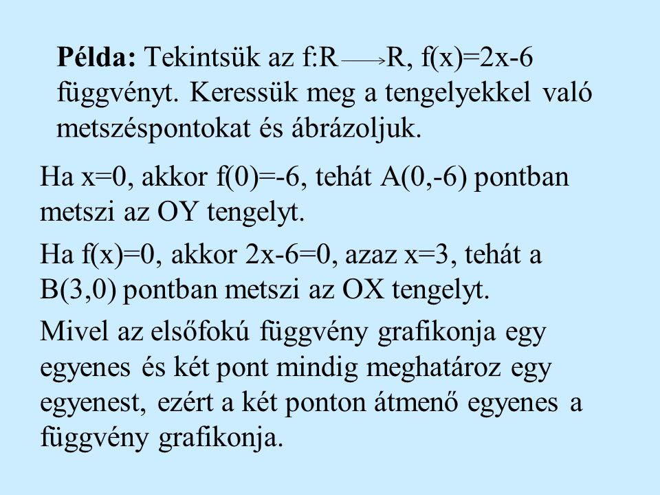 Példa: Tekintsük az f:R. R, f(x)=2x-6 függvényt
