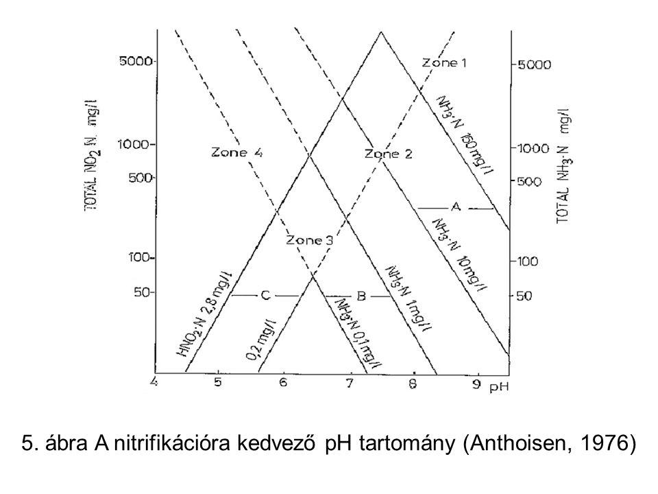 5. ábra A nitrifikációra kedvező pH tartomány (Anthoisen, 1976)