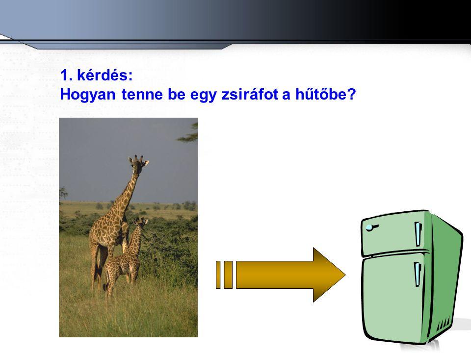 1. kérdés: Hogyan tenne be egy zsiráfot a hűtőbe