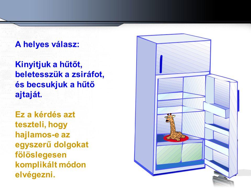 A helyes válasz: Kinyitjuk a hűtőt, beletesszük a zsiráfot, és becsukjuk a hűtő ajtaját.