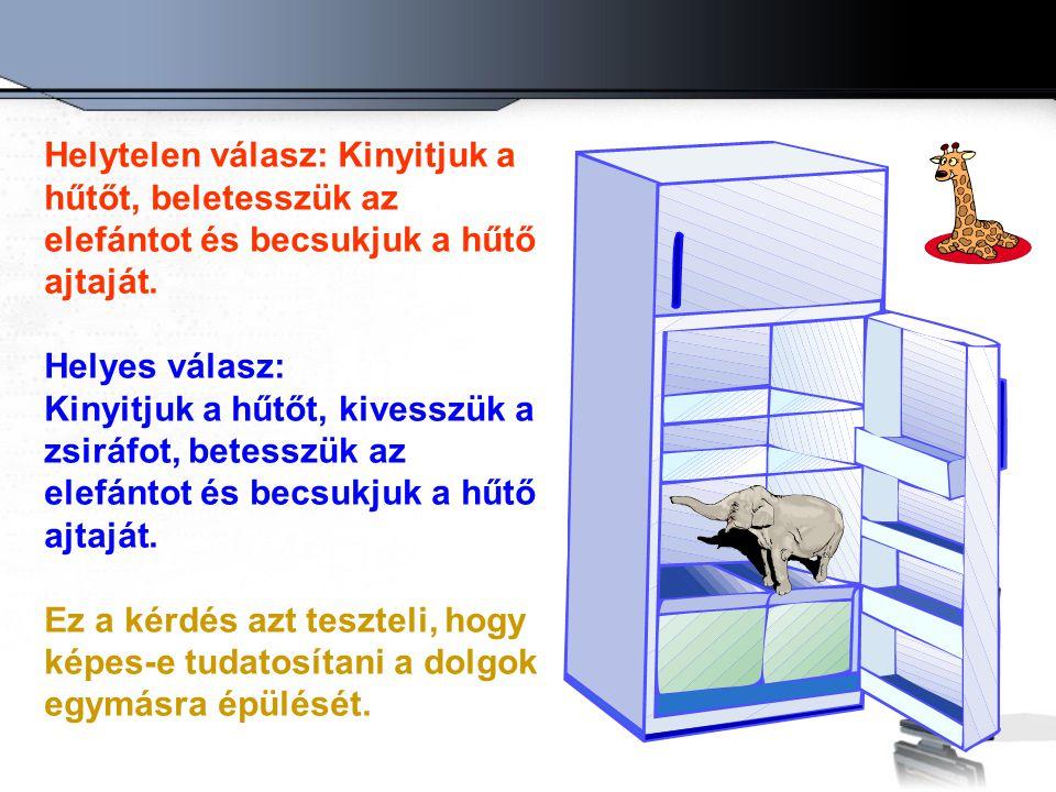 Helytelen válasz: Kinyitjuk a hűtőt, beletesszük az elefántot és becsukjuk a hűtő ajtaját.
