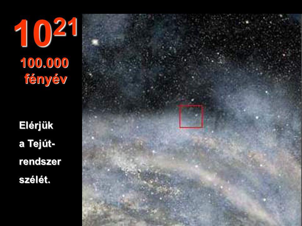 1021 100.000 fényév Elérjük a Tejút- rendszer szélét.
