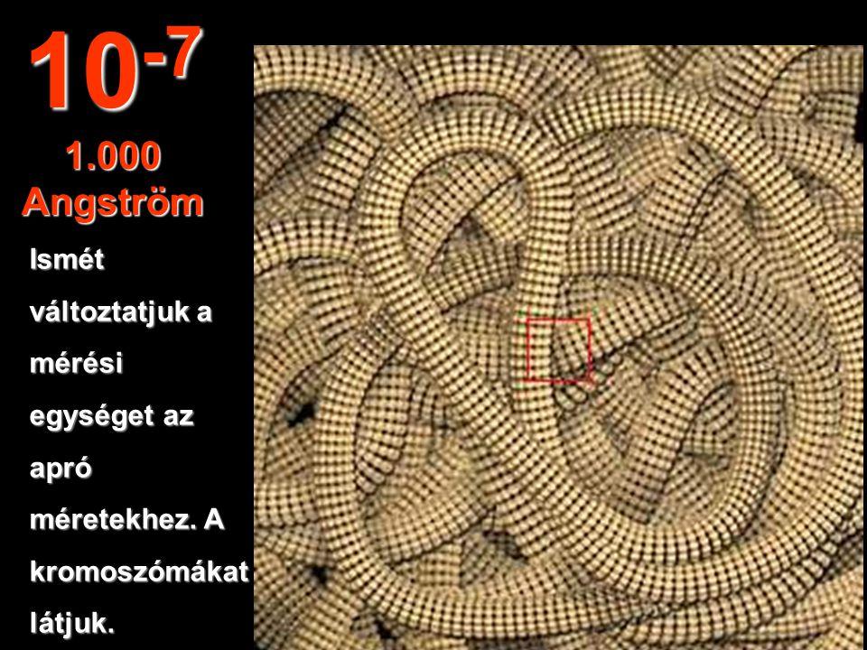 10-7 1.000 Angström Ismét változtatjuk a mérési egységet az apró
