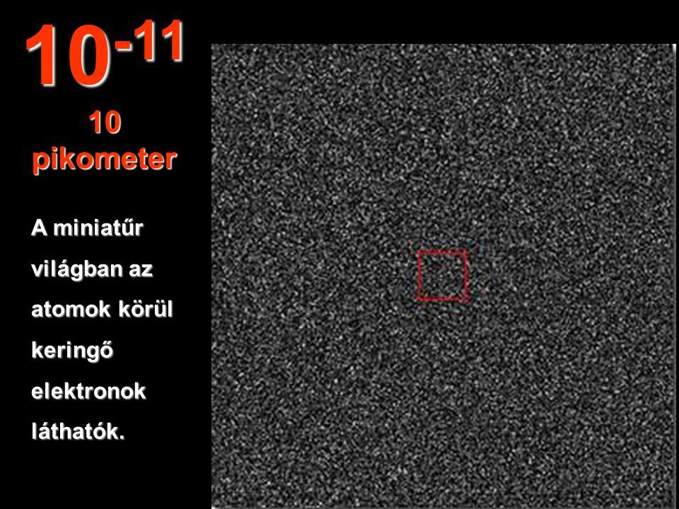 10-11 10 pikometer A miniatűr világban az atomok körül keringő