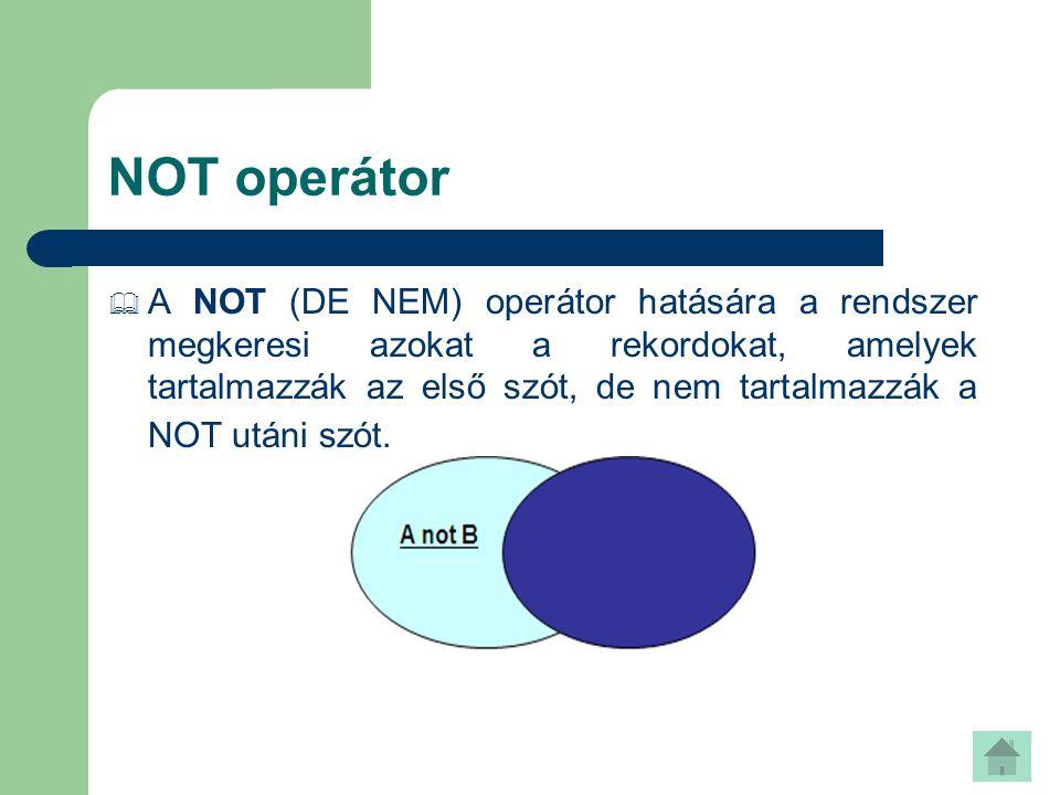 NOT operátor
