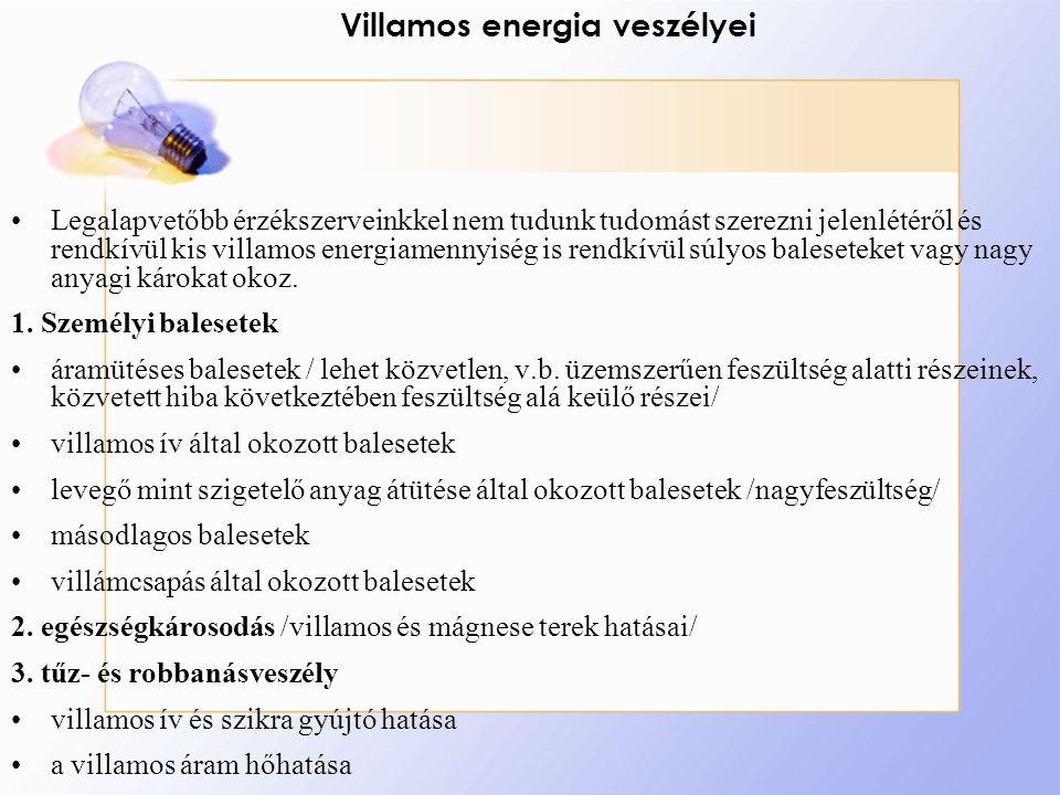 Villamos energia veszélyei