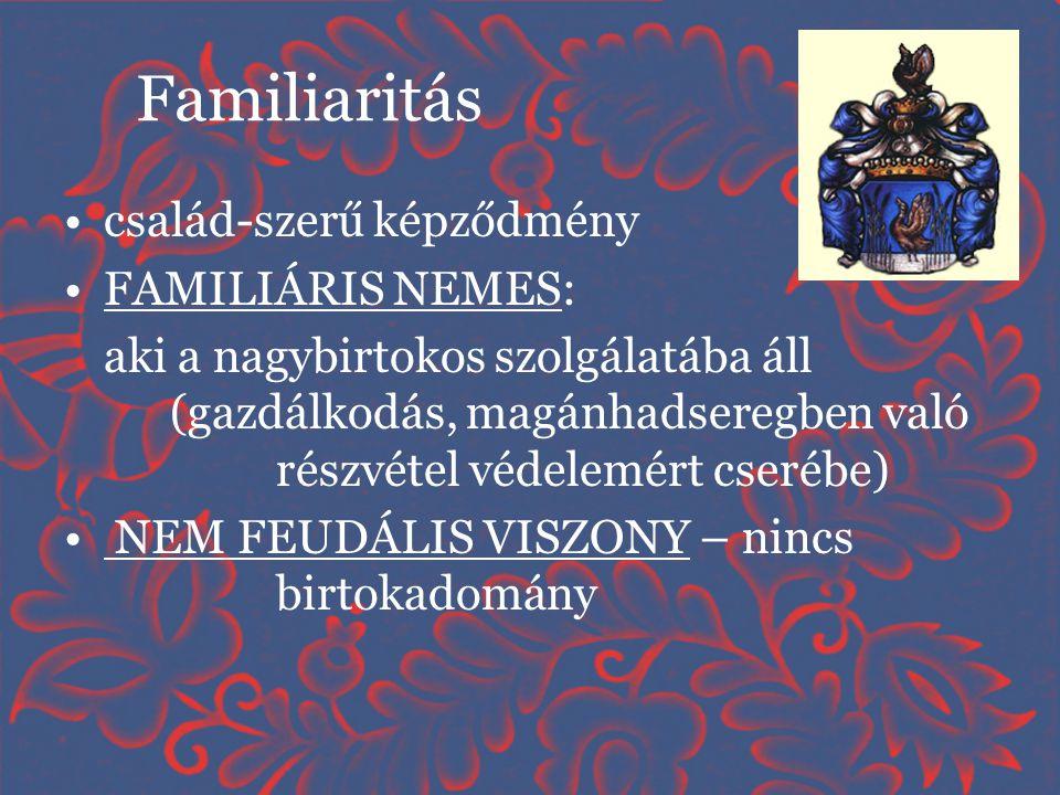 Familiaritás család-szerű képződmény FAMILIÁRIS NEMES:
