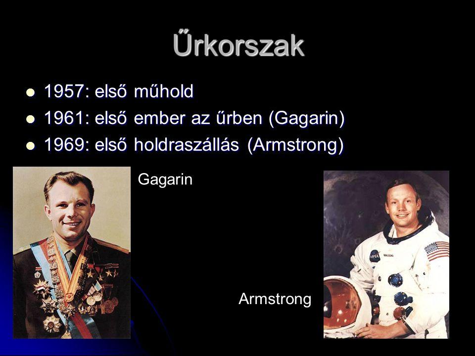 Űrkorszak 1957: első műhold 1961: első ember az űrben (Gagarin)