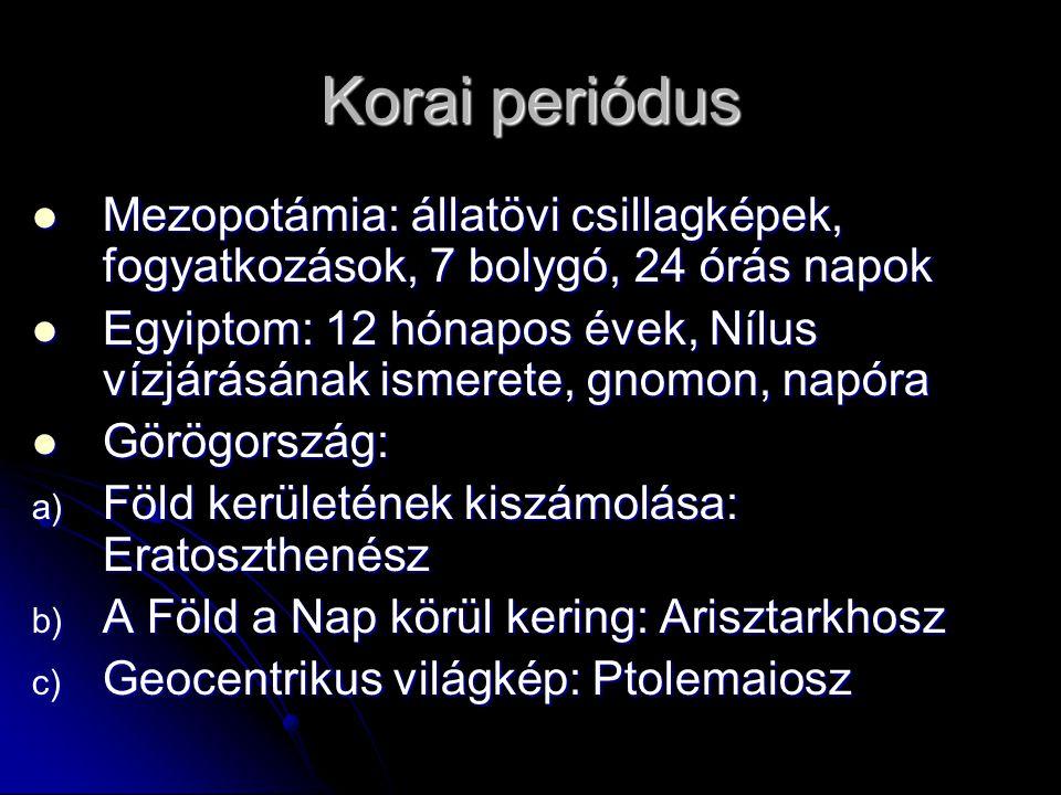 Korai periódus Mezopotámia: állatövi csillagképek, fogyatkozások, 7 bolygó, 24 órás napok.