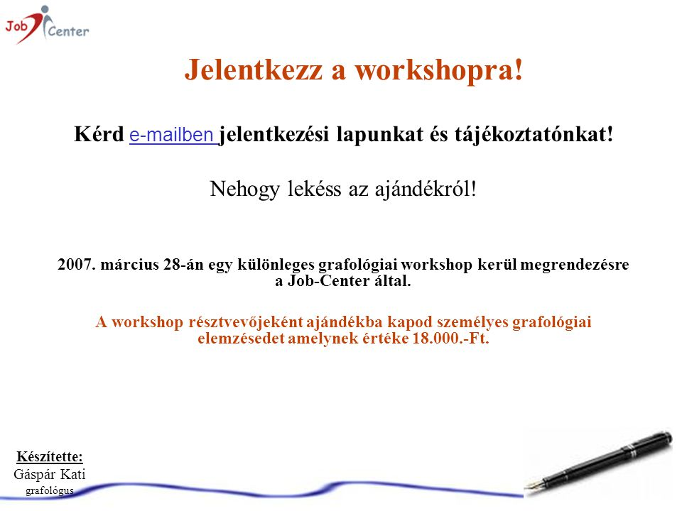 Jelentkezz a workshopra!