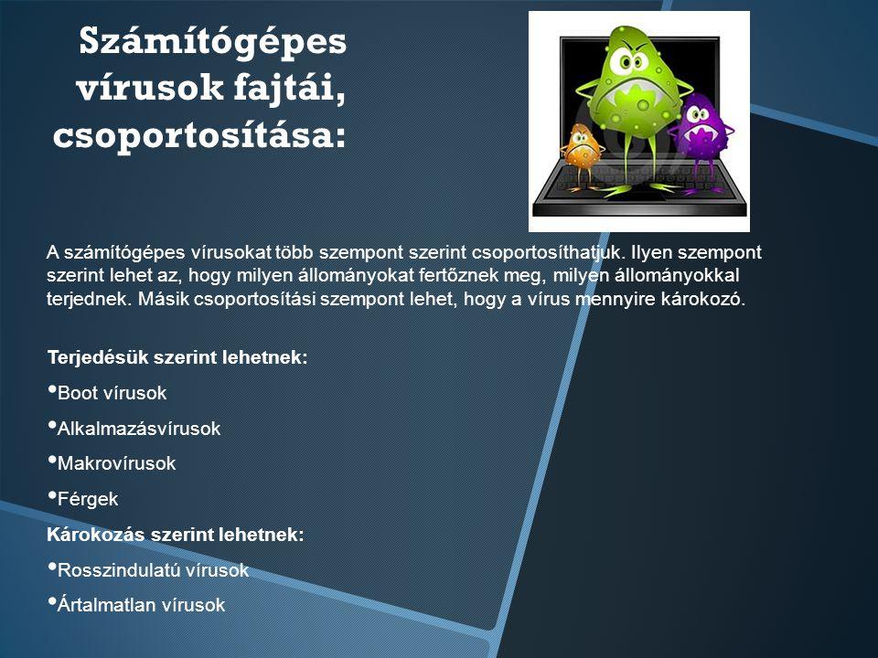 Számítógépes vírusok fajtái, csoportosítása:
