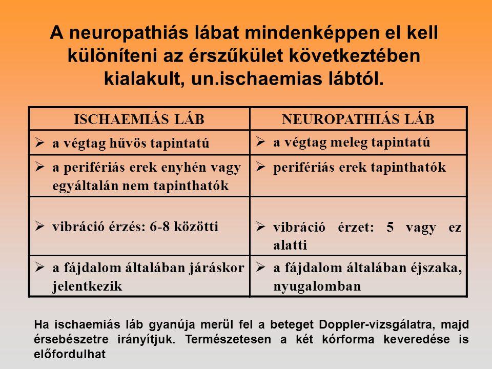A neuropathiás lábat mindenképpen el kell különíteni az érszűkület következtében kialakult, un.ischaemias lábtól.