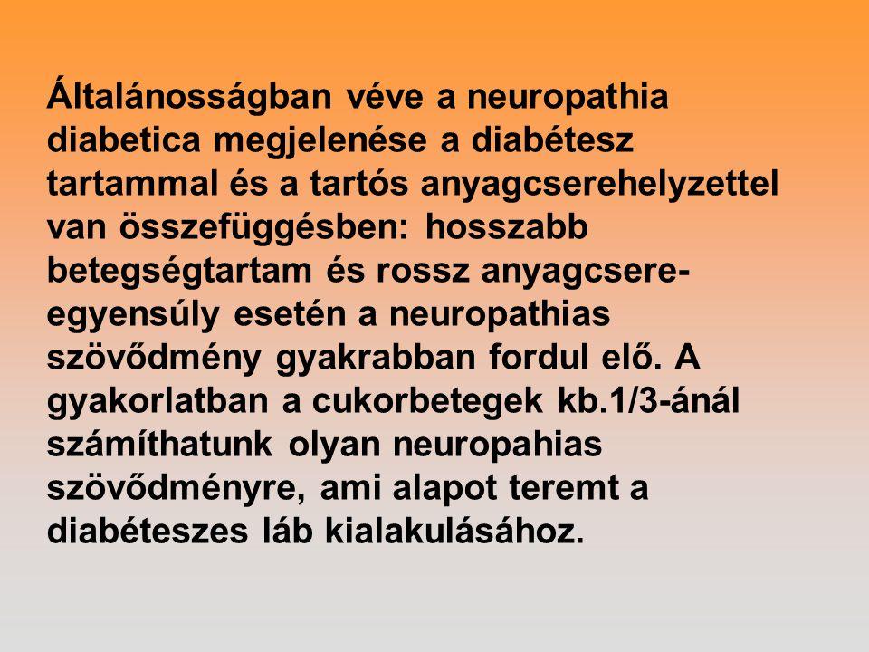 Általánosságban véve a neuropathia diabetica megjelenése a diabétesz tartammal és a tartós anyagcserehelyzettel van összefüggésben: hosszabb betegségtartam és rossz anyagcsere-egyensúly esetén a neuropathias szövődmény gyakrabban fordul elő.