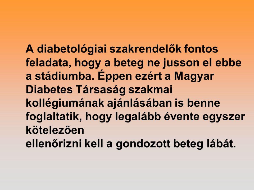 A diabetológiai szakrendelők fontos feladata, hogy a beteg ne jusson el ebbe a stádiumba.