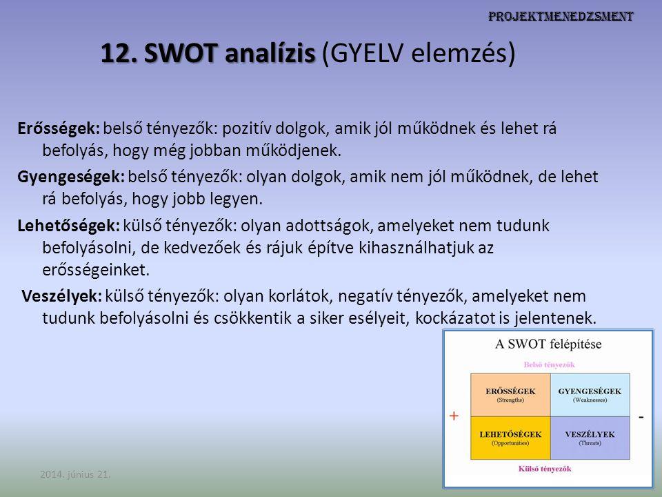 12. SWOT analízis (GYELV elemzés)